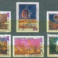 Sellos: CUBA 1975 COSMONAUTICS DAY - SCIENCE FICTION PAINTINGS U - SPACE, LITERATURE, SPACESHIPS. Lote 241342085