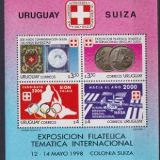 Sellos: URUGUAY 1998 URUGUAYAN-SWISS STAMP EXHIBITION MNH - STAMPS ON STAMPS, COINS ON STAMPS, OLYMPIC GAM. Lote 241653225