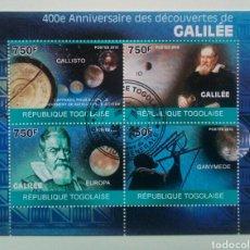 Sellos: GALILEO GALILEI HOJA BLOQUE DE SELLOS USADOS DE TOGO. Lote 246236110