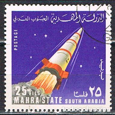 MAHRA (YEMEN) 60, EXPLORACION ESPACIAL, COHETE, USADO (Sellos - Temáticas - Conquista del Espacio)