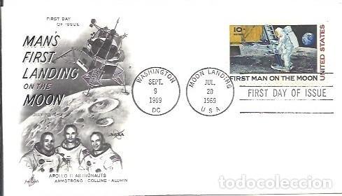 FDC USA MANS FIRST LANDING ON THE MOON APOLLO II ASTRONAUTS ARMSTRONG COLLINS ALDRIN 20 JUL 1969 (Sellos - Temáticas - Conquista del Espacio)