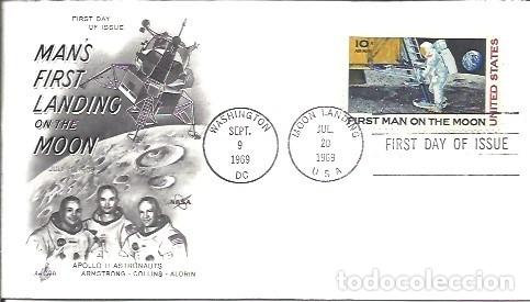 Sellos: FDC USA MANS FIRST LANDING ON THE MOON APOLLO II ASTRONAUTS ARMSTRONG COLLINS ALDRIN 20 JUL 1969 - Foto 1 - 253470540