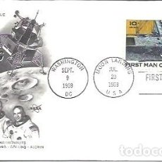 Sellos: FDC USA MANS FIRST LANDING ON THE MOON APOLLO II ASTRONAUTS ARMSTRONG COLLINS ALDRIN 20 JUL 1969. Lote 253470540