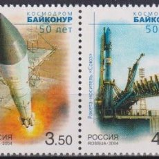 Sellos: ⚡ DISCOUNT RUSSIA 2004 50TH ANNIVERSARY OF THE BAIKONUR COSMODROME MNH - SPACESHIPS. Lote 255634185
