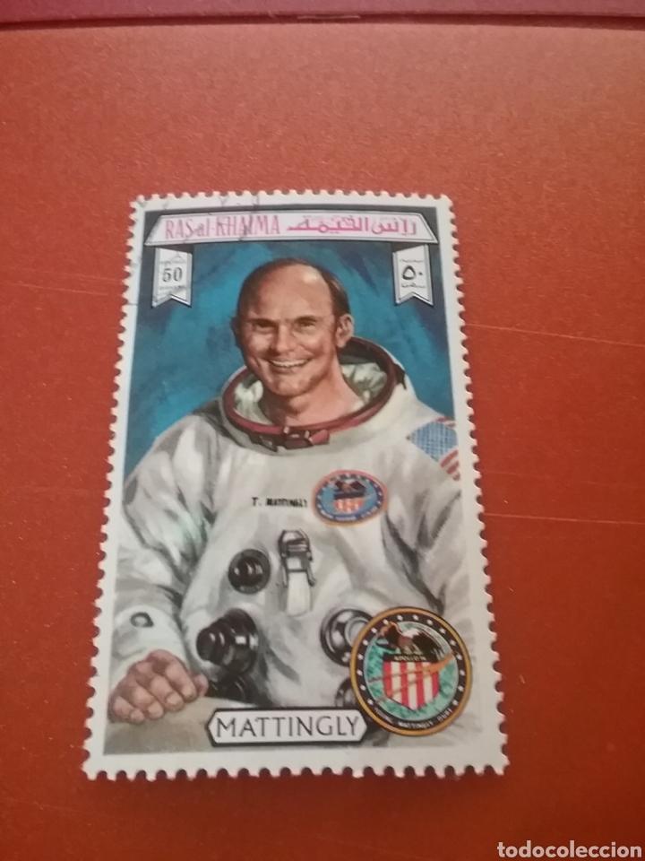SELLO RAS AL KHAIMA MTDO (E.A.U)/1972/APOLO/16/ASTRONAUTA/ASTROS/ESPACIO/BANDERA/EMBLEMAS/COSMOS/PLA (Sellos - Temáticas - Conquista del Espacio)