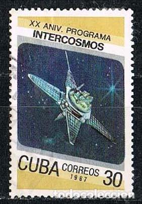 CUBA Nº 3092, MOLNIJA 20 ANIVERSARIO DEL PROGRAMA INTERCOSMOS, USADO (Sellos - Temáticas - Conquista del Espacio)