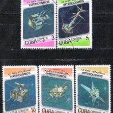Sellos: CUBA Nº 3088/92, MOLNIJA 20 ANIVERSARIO DEL PROGRAMA INTERCOSMOS, USADO. Lote 262581860