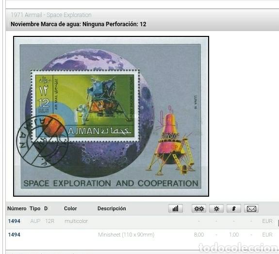 Sellos: HB Ajman, Estado (E.A.U) mtda/1971/exploracion/espacio/naves/satelite/prbita/planeta/astros/cosmos/t - Foto 2 - 262633665