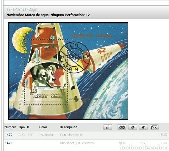 Sellos: HB Ajman Estado (E.A.U) mtda/1971/perro/can/Laika/exploracion/espacio/nave/satelite/mamifero/espacio - Foto 2 - 262650760