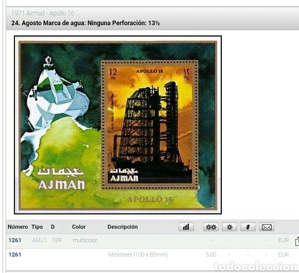 Sellos: HB Ajman, Estado (E.A.U) mtda/1971/Apolo/16/lanzadera/cohetes/espacio/satelite/plentas/astronautas/a - Foto 2 - 262725220