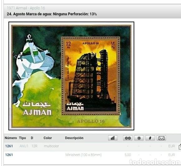 Sellos: HB Ajman, Estado (E.A.U) mtda/1971/Apolo/16/lanzadera/cohetes/espacio/satelite/plentas/astronautas/a - Foto 2 - 262725355