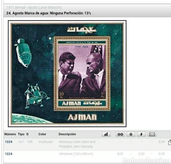 Sellos: HB Ajman, Estado (E.A.U) mtda/1971/mision/luna/Apolo/J.F/Kennedy/astronauta/satelite/espacio/nave/co - Foto 2 - 262726050