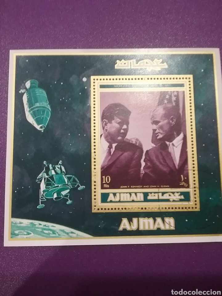 HB AJMAN, ESTADO (E.A.U) MTDA/1971/MISION/LUNA/APOLO/J.F/KENNEDY/ASTRONAUTA/SATELITE/ESPACIO/NAVE/CO (Sellos - Temáticas - Conquista del Espacio)