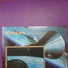Sellos: HB MANAMA (E.A.U) MTDOS/1972/ESPACIO/PRIMER/VIAJE/LUNA/TRIPULADO/COSNOS/LANZADERA/COHETE/ASTROS/. Lote 263074960