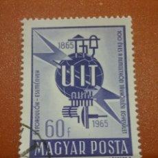 Sellos: SELLO HUNGRÍA (MAGYAR P)MTDO/1965/1CENT/U.I.T/UNION/INTERN/TELECOMUNICACIONES/EMBLEMA/GLOBO/TIERRA/A. Lote 267348694