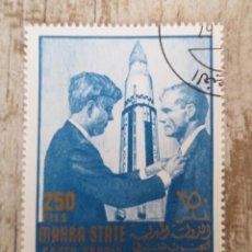 Sellos: SELLO DE MAHRA STATE 250 F - 1967 - KENNEDY. Lote 278530603