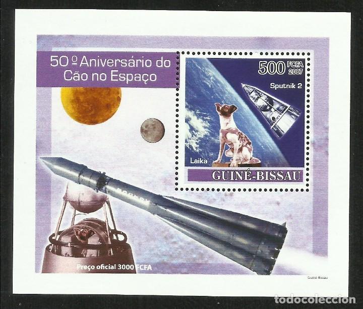 GUINEA 2007 HOJA BLOQUE SELLOS 50 ANIVERSARIO CONQUISTA DEL ESPACIO - LAIKA - SPUTNIK 2 (Sellos - Temáticas - Conquista del Espacio)