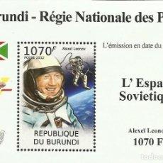 Sellos: BURUNDI 2012 HOJA BLOQUE SELLOS CONQUISTA DEL ESPACIO ASTRONAUTAS SOVIETICOS ALEXEI LEONOV. Lote 287313153