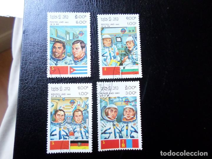 *LAOS, 1983, 4 SELLOS TEMA CONQUISTA DEL ESPACIO (Sellos - Temáticas - Conquista del Espacio)