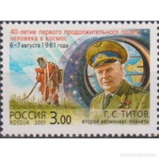 Sellos: ⚡ DISCOUNT RUSSIA 2001 THE 40TH ANNIVERSARY OF FIRST LONG MANNED SPACE FLIGHT MNH - SPACE, S. Lote 297146153