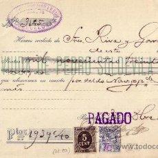 Sellos: ESPAÑA. (CAT. 236, FISCAL 18). 1898. RECIBO DE BARCELONA REINTEGRADO CON SELLO Y FISCAL. R. Lote 24087967