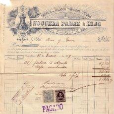 Sellos: ESPAÑA. FISCALES. (CAT. 236, FISCAL 19). 1899. FACTURA PUBLICITARIA DE BARCELONA. MAGNÍFICA Y RARA.. Lote 24631027