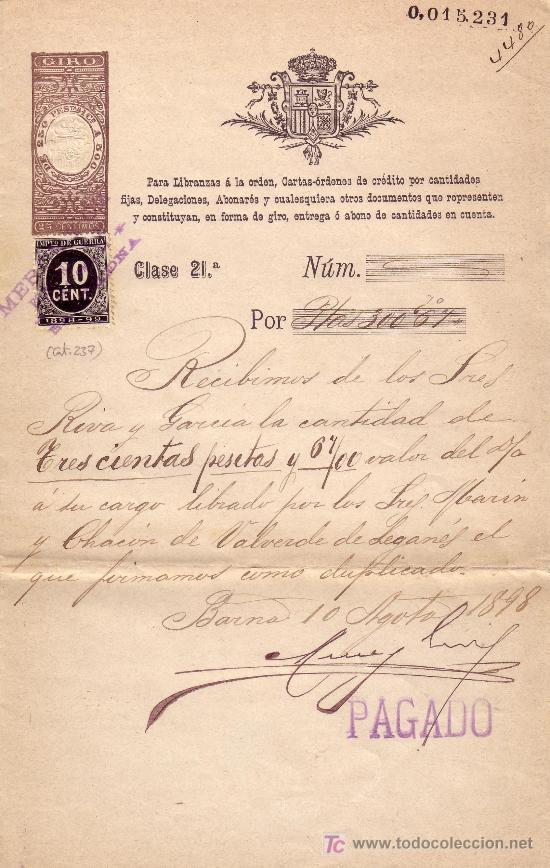 ESPAÑA. FISCAL. (CAT. 237). 1898. CARTA ÓRDEN DE CRÉDITO DE BARCELONA.REINTEGRADO CON IMPTO.GUERRA (Sellos - España - Otros Clásicos de 1.850 a 1.885 - Cartas)