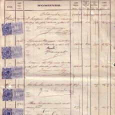 Sellos: ESPAÑA. (CAT.184 (46)/FISCAL (46)).1881. BARCELONA.NÓMINA 8 PÁGINAS.SELLOS I. G. Y FALSOS FISCALES.. Lote 26952625