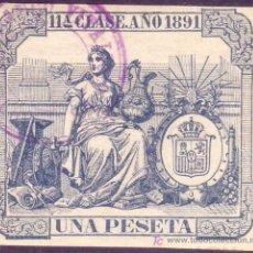 Sellos: ESPAÑA. FISCAL. 1891. 1 PTA. PÓLIZA * 11ª CLASE *. Nº DE CONTROL AL DORSO. MAGNÍFICA Y RARA.. Lote 24730433