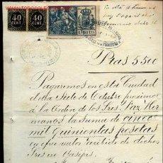 Sellos: PAGARE DE 5.500 PTAS.CON 2 SELLOS DE 40 CENT. DE IMPUESTO DE GUERRA 1898-99 Y 1 SELLO DE 4 PTAS 1900. Lote 22410681