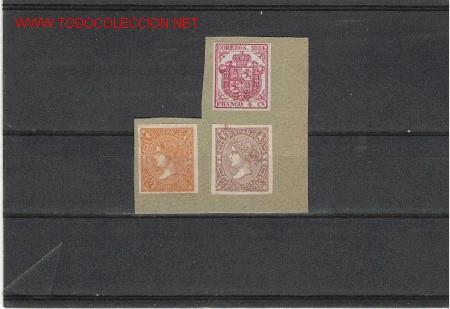 ESPAÑA MUY BONITOS Nº 33, 73 Y 73A, PEGADOS SOBRE PAPEL (Sellos - España - Otros Clásicos de 1.850 a 1.885 - Cartas)
