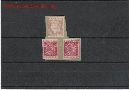 ESPAÑA MUY BONITOS Nº 13 Y 24 (2), PEGADOS SOBRE PAPEL (Sellos - España - Otros Clásicos de 1.850 a 1.885 - Cartas)