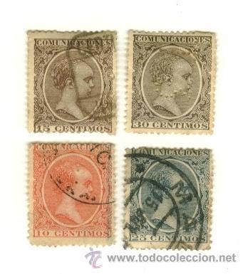 LOTE DE 4 SELLOS ESPAÑOLES ANTIGUOS (Sellos - España - Otros Clásicos de 1.850 a 1.885 - Usados)