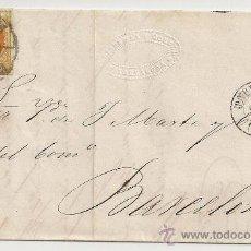 Sellos: EDIFIL Nº 52. RUEDA DE CARRETA Nº 46. FECHADOR DE SALIDA Y LLEGADA. DE TARRAGONA A BARCELONA. 1860.. Lote 10892229