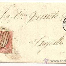 Sellos: ESPAÑA. EDIFIL Nº 48. MATASELLOS DE PARRILLA Y FECHADOR. CUBIERTA DE TRUJILLO A ZAFRA. 1857. Lote 10906230