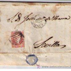 Sellos: CARTA.SET.1857.DE VALVERDE DEL CAMINO(HUELVA) A SEVILLA.FRANQUEO 48,MATASELLOS PARRILLA NEGRO. Lote 16621282