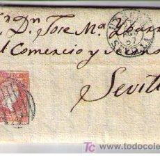 Sellos: CARTA DE UTRERA (SEVILLA) A SEVILLA.FRANQUEADA CON Nº 48 MATASELLADO CON PARRILLA NEGRO Y S/ PLIEGO. Lote 18119634