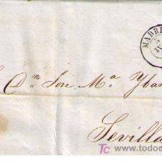 Sellos: CARTA DE MADRID A SEVILLA.FRANQUEADA CON Nº 48 (I) MATASELLADO CON REJILLA EN NEGRO Y S/ PLIEGO. Lote 18009869