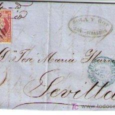 Sellos: CARTA DE S.SEBASTIÁN A SEVILLA. FRANQUEADA CON Nº 48 TIPO III,MATASELLO PARRILLA NEGRA.. Lote 16621296