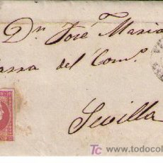 Sellos: CARTA DE VERGARA (GUIPUZCOA) A SEVILLA. FRANQUEADA CON Nº 48, MATASELLADO CON PARRILLA NEGRA. Lote 18119636