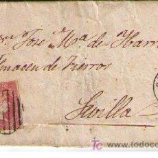 Sellos: CARTA DE CÁCERES A SEVILLA. FRANQUEADA CON Nº 48 TIPO I,MATASELLADO CON PARRILLA EN NEGRO. Lote 18119640