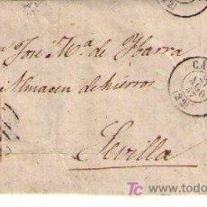 Sellos: CARTA DE CÁCERES A SEVILLA. FRANQUEADA CON Nº 48,MATASELLADO CON PARRILLA EN NEGRO,S/ PLIEGO FECHA-. Lote 18119641