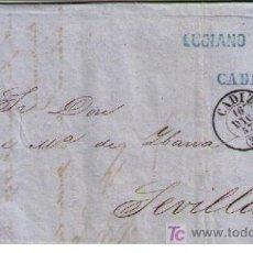 Sellos: CARTA DE CÁDIZ A SEVILLA.FRANQUEADA CON Nº 48,MATASELLADO CON PARRILLA NEGRA Y S/PLIEGO. Lote 16621307