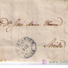 Sellos: CARTA DE SANLUCAR DE B.(CADIZ) A SEVILLA.FRANQUEADA CON Nº 48,MATASELLADO CON PARRILLA NEGRA. Lote 16621308