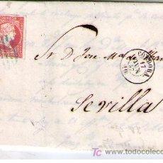 Sellos: CARTA DE CÓRDOBA A SEVILLA.FRANQUEADA CON Nº 48,MATASELLADO CON PARRILLA AZUL Y S/PLIEGO FECHA-. Lote 16621310