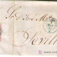 Sellos: CARTA DE CÓRDOBA A SEVILLA.FRANQUEADA CON Nº 48,MATASELLADO CON PARRILLA AZUL Y S/PLIEGO. Lote 17244476