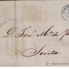 Sellos: CARTA DE BARCELONA A SEVILLA.FRANQUEADA CON Nº 48 III, TIPO III,MATASELLADO CON PARRILLA NEGRA. Lote 17244483