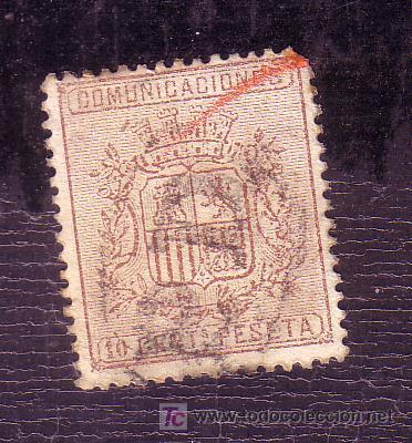 ESPAÑA.- EDIFIL Nº 153 II, MATASELLADO CON MARCA PD EN NEGRO, ( TORT 393 ) (Sellos - España - Otros Clásicos de 1.850 a 1.885 - Usados)