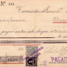 Sellos: (CAT.236, FISCAL 19).TARRASA(BARCELONA).1899.CHEQUE REINTEGRADO CON FISCAL E IMPUESTO DE GUERRA.LUJO. Lote 24351689