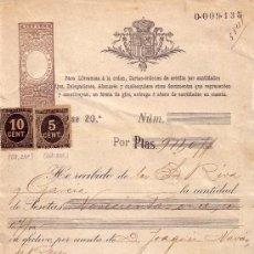 Sellos: (CAT.236,237). 1899. BARCELONA. CARTA ÓRDEN DE CRÉDITO REINTEGRADA CON SELLOS IMPUESTO DE GUERRA. RR. Lote 27416797